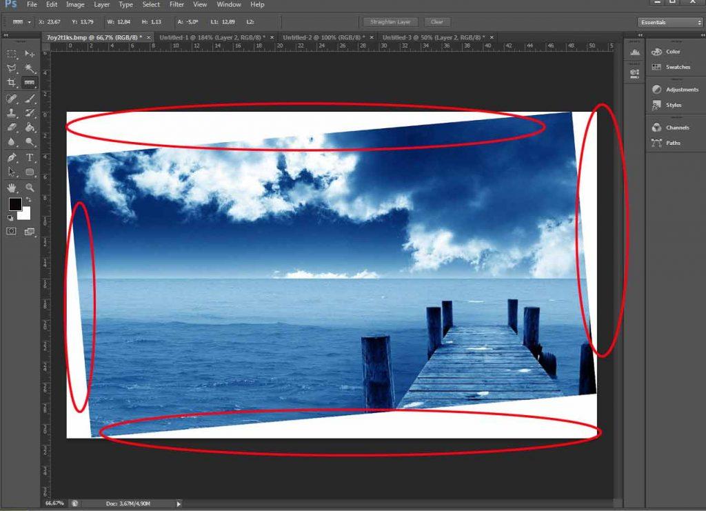 Como corrigi horizonte no Photoshop 005