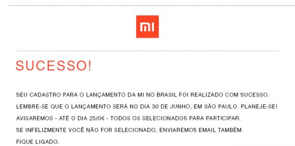 Mensagem Xiaomi enviada pela Xiaomi