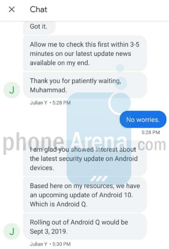 Android 10 confirmado ao Phone Arena por um funcionário do suporte da Google