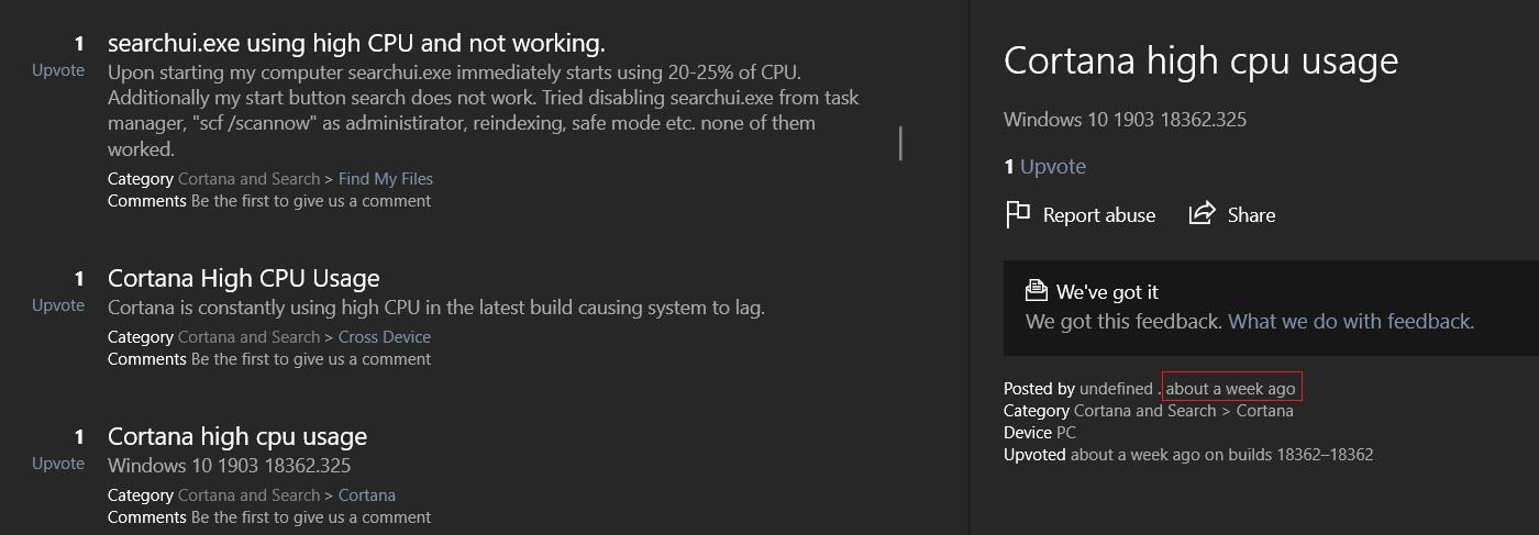 Uso do sistema pela Cortana após atualização KB4512941