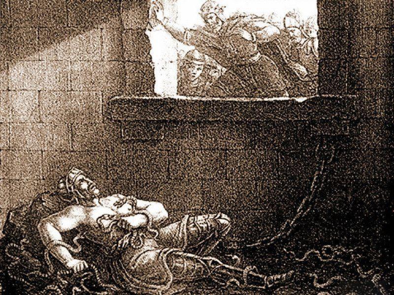 Morte de Ragnar Ladbrock. Gravura do século XIX.